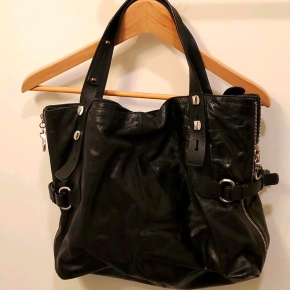 Francesco Biasia 🇮🇹 designer black leather bag